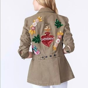 NWT Veronica Beard Holden Sequin Army Jacket LG